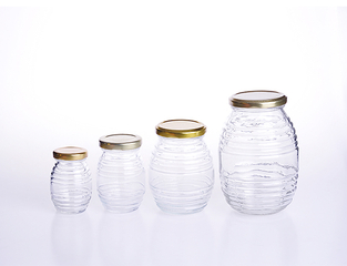 Large Round Glass Honey Jar