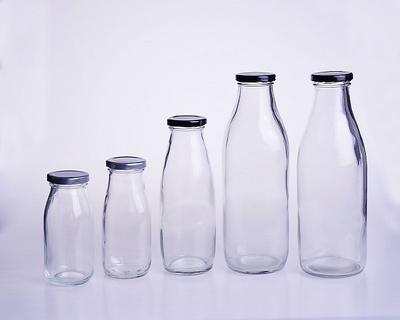 Milk Glass Bottle with Metal Lid