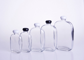 Flat Round Juice Beverage Glass Bottle
